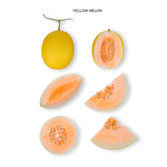 yellow cantaloupe melon isolated on white background, flat lay, top view