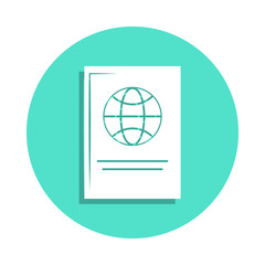 Passport icon in badge style. One of travel collection icon can be used for UI, UX