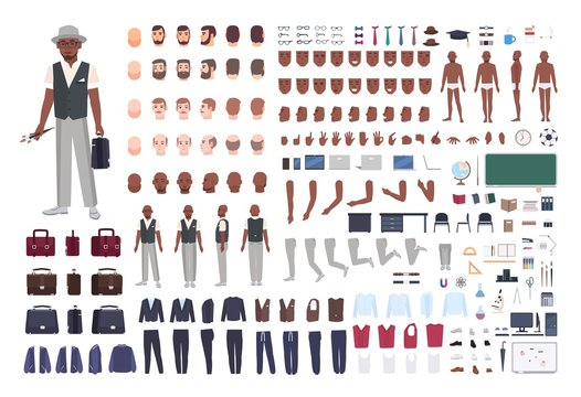 African American school art teacher creation set. Collection of male body parts in different poses, clothes isolated on white background. Front, side, back views. Flat cartoon vector illustration.