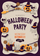 Happy Halloween party poster with  pumpkins, ghosts, candy, witch broom, bats, cobwebs, skulls, bones, headstones, witch hats. Paper art style. Vector Illustration
