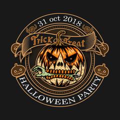 Halloween vintage logo on black backgoound.Pumpkin vector art highly detailed by hand drawing.Halloween pumpkin tattoo in line art style