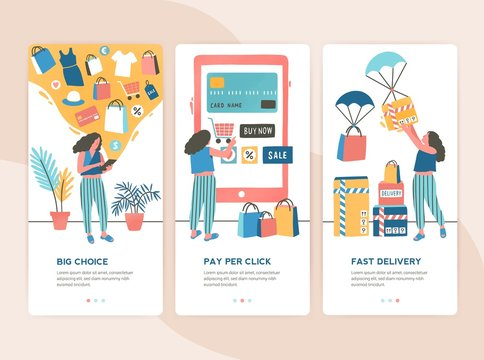 Bundle of vertical web banner templates with stages of online shopping - choice, payment, delivery. Set of scenes with woman buying goods in internet store. Colorful vector illustration in flat style.