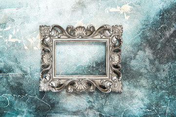 Vintage silver baroque style picture frame