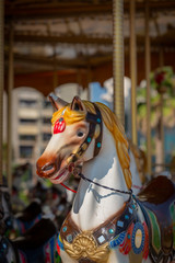 Front closeup selective focus of a merry go round horse outdoors.