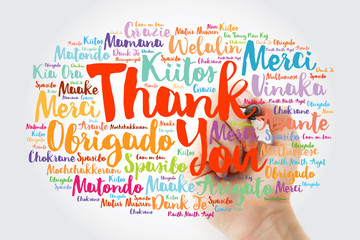 Hand writing Thank You Word Cloud in all languages with marker