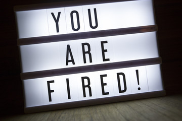 'You are fired' text in a lightbox