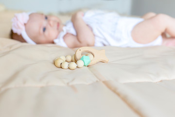 Baby wooden rattle. Ecological wooden toys