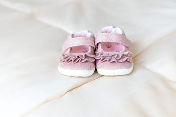 Pink baby shoes for little girl. Kids fashion