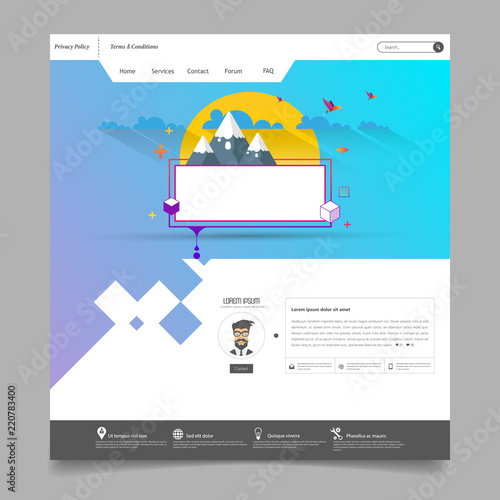 modern cool website design template with colorful abstract header