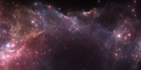 Deep space nebula. Giant interstellar cloud with stars