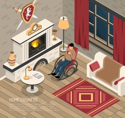 Fire Place Cosiness Isometric Illustration