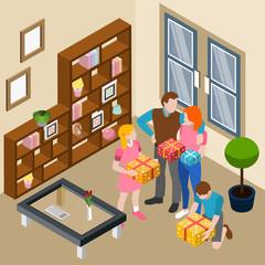 Family Home Celebration Isometric