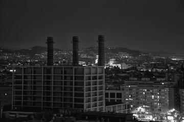 Barrio del Poble-sec en Barcelona ciudad de noche
