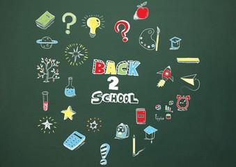 Back to school Education drawing on blackboard