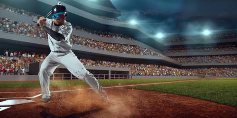 Baseball player bat the ball on professional baseball stadium Wall mural