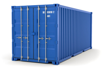 3D Illustration blauer Container aks Illustration