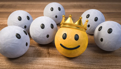 3D Illustration die staunenden und der König