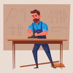 Funny carpenter is working. Cartoon vector illustration