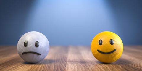 3D Illustration unglücklich und glücklich