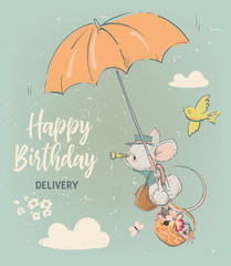 cute birthday mouse with flowers