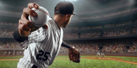 Baseball player throws the ball on professional baseball stadium Wall mural