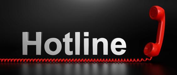 3D roter telefonhörer Hotline