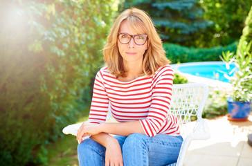 Woman enjoy relaxing outdoor in the garden