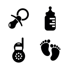 Baby, Children. Simple Related Vector Icons Set for Video, Mobile Apps, Web Sites, Print Projects and Your Design. Baby, Children icon Black Flat Illustration on White Background.