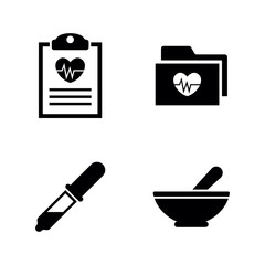 Health Heart. Simple Related Vector Icons Set for Video, Mobile Apps, Web Sites, Print Projects and Your Design. Health Heart icon Black Flat Illustration on White Background.