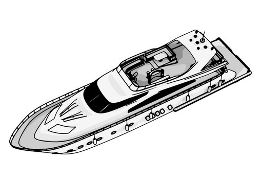 sketch of a yacht vector