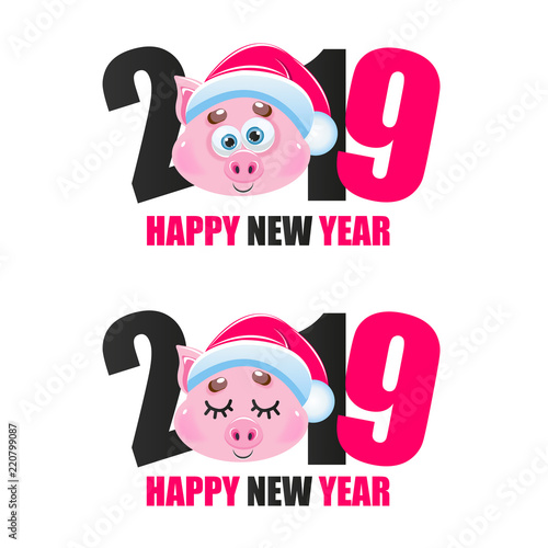 cute cartoon vector pig icon happy new year animal of the year 2019