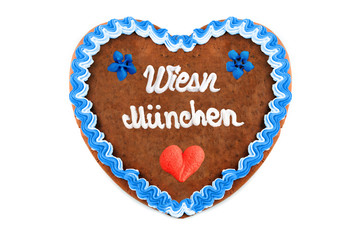 Wiesn Muenchen Oktoberfest Gingerbread heart with white isolated background