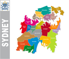 Colorful Sydney administrative and political map with coat of arms