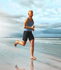 Male Sport Runner Jogging on Beach