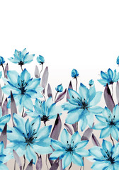 Beautiful blue flowers with stems and leaves on white background. Seamless floral pattern. Watercolor painting. Hand painted botanical illustration.