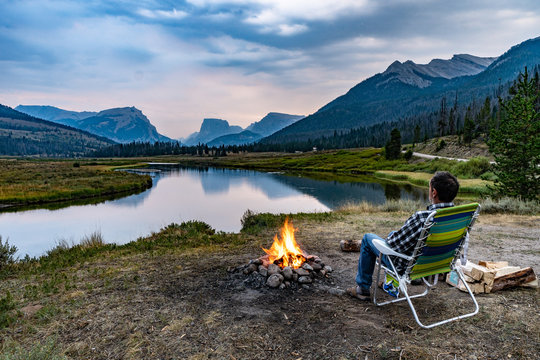 Camp by the Green River, Wind River Range, WY