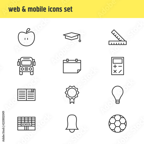 vector illustration of 12 studies icons line style editable set of
