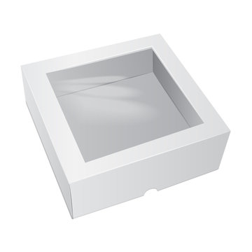 Cardboard Cake White Box. For Fast Food, Gift, etc. Vector Mockup. Carry Packaging. Template of package.
