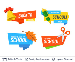 Education colorful badges collection.