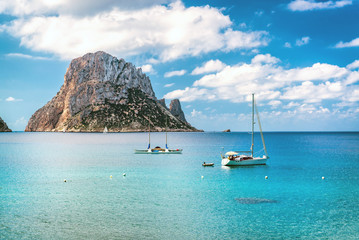 Picturesque view of the mysterious island of Es Vedra. Ibiza, Spain