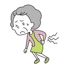 腰を痛めた老いた女性