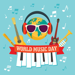 World music day concept background. Flat illustration of world music day vector concept background for web design