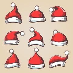 Santa hat set. Hand drawn santa hats, holiday wearing vector illustration