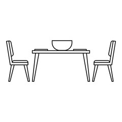 Kitchen table and chair icon. Outline illustration of kitchen table and chair vector icon for web design isolated on white background