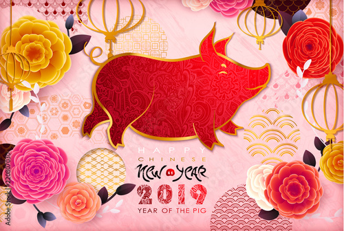 chinese new year 2019 zodiac pig happy new year card pattern art
