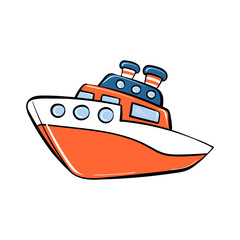 Toy ship icon. Cartoon of toy ship vector icon for web design isolated on white background