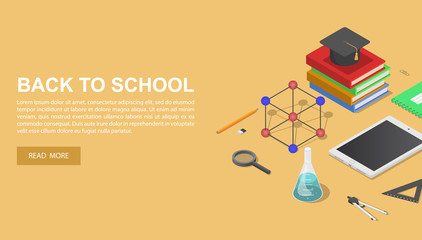 Back to school chemical concept background. Isometric of back to school chemical vector concept background for web design