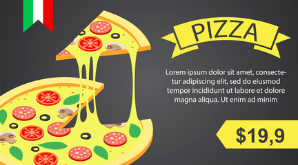 Pizza banner horizontal. Isometric illustration of vector pizza banner horizontal for web design