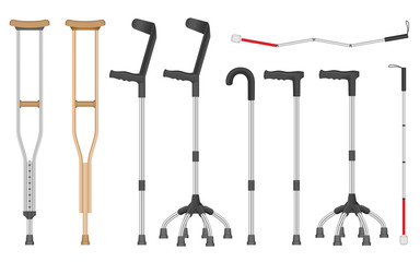 Crutches icon set. Realistic set of crutches vector icons for web design isolated on white background