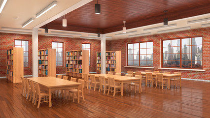 Reading hall interior. 3D illustration